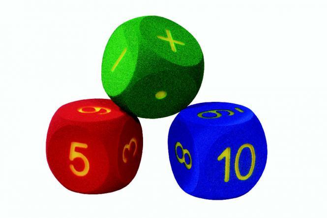 Volley schaumstoffwürfel 6 flächig mit ausgefrästen zahlen von 1